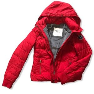 Abercrombie and Fitch Red Puffer Winter Jacket